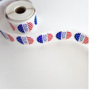"""A roll of stickers that say """"I Voted"""""""