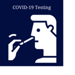 """A graphic of a man receiving a nasal swab. Text reads, """"COVID-19 testing."""""""