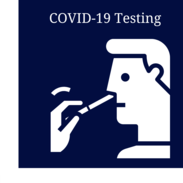 """A cartoon man self-administering a COVID-19 test. Text reads, """"COVID-19 testing."""""""