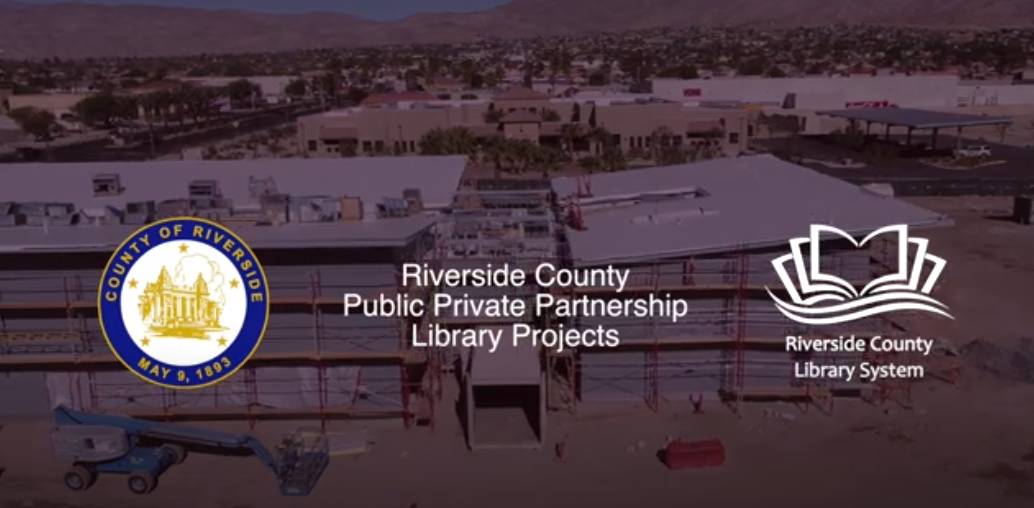 """Construction progress on the French Valley Library. Text reads, """"Riverside County Public-Private partnership library projects."""""""