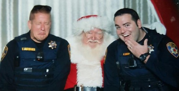 Officers and Santa in the mall