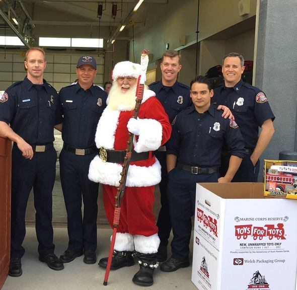 Santa and firefighters