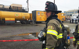 Roseville Fire Department Firefirghter participating in a routine Union Pacific Siren Testing.