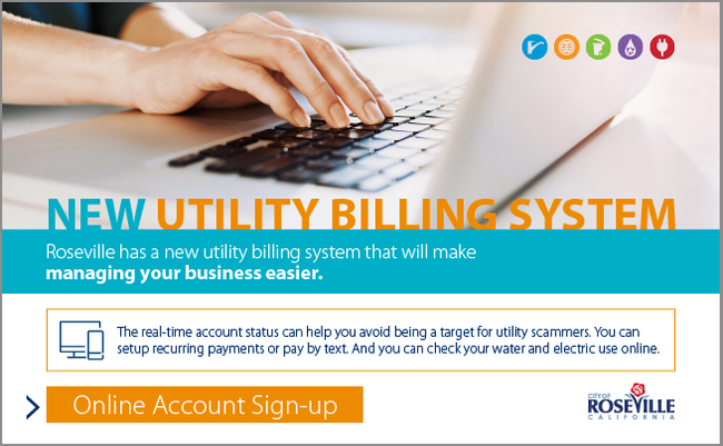 Business Utilitites sign-up page, with border
