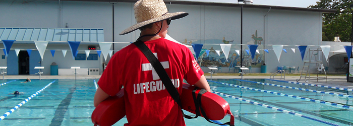 Lifeguard on duty at pool