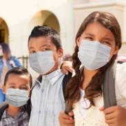 Children wearing mask at school