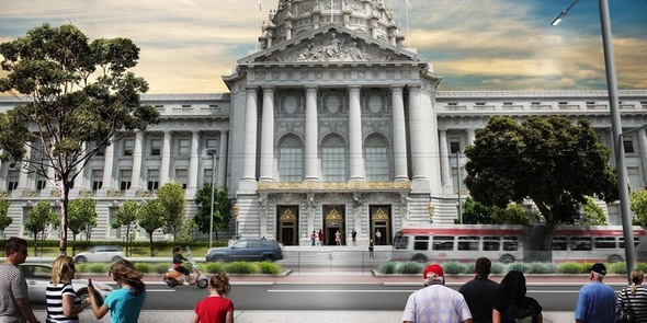 A rendering of Van Ness Avenue with City Hall in the background when the Van Ness Improvement Project construction is complete