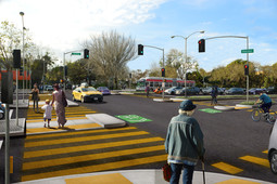 Rendering of new pedestrian crossing at Geary and Steiner streets