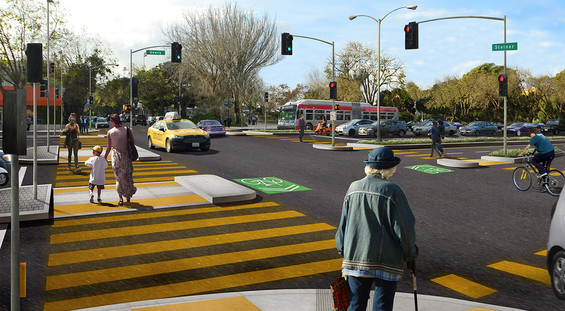 Rendering of the future Geary at Steiner with the bridge removed and new crosswalks