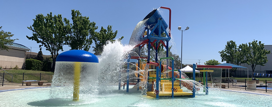 Colorful water play structure at the San Ramon Olympic Pool