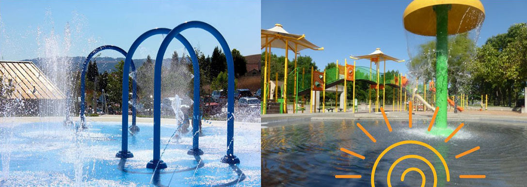 Photos of two play fountains, one with blue arches (Rancho San Ramon Park) and one with a yellow and green umbrella-shaped structure (Central Park)