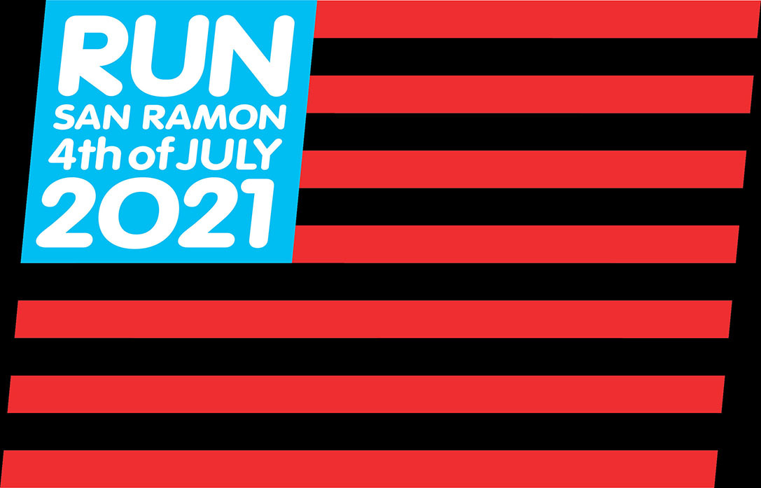 """Red and black striped flag with """"Run San Ramon 4th of July 2021"""""""