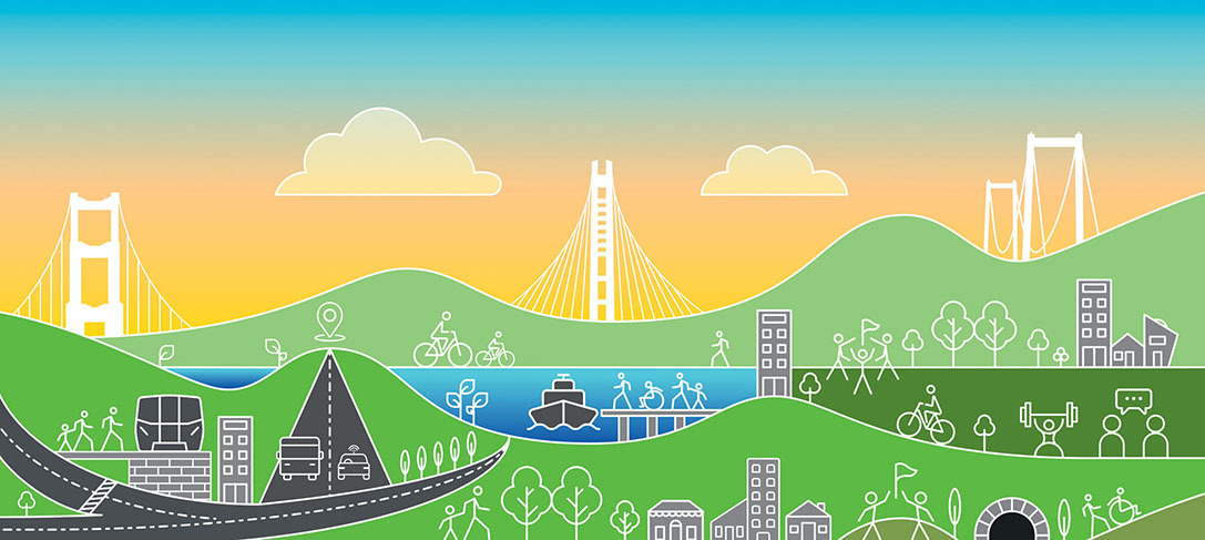 Green, blue and yellow graphic representing Bay Area hills, roads, water, sky, bridges, trees, and roads, with outlines of people