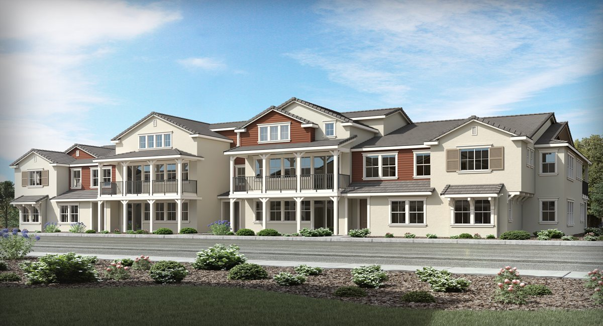 Rendering of a row of homes in the Preserve community