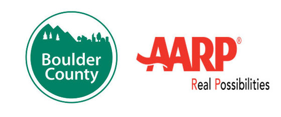 Logos for AARP and Boulder County