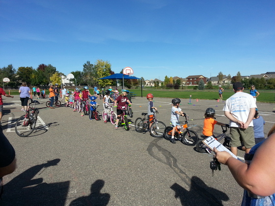 Kids learning to bike safely.