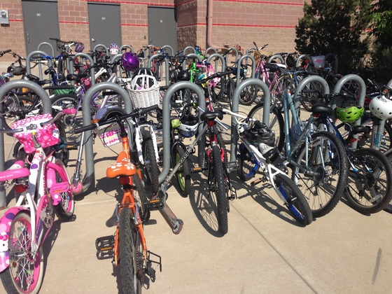Full bike rack at Black Rock Elementary