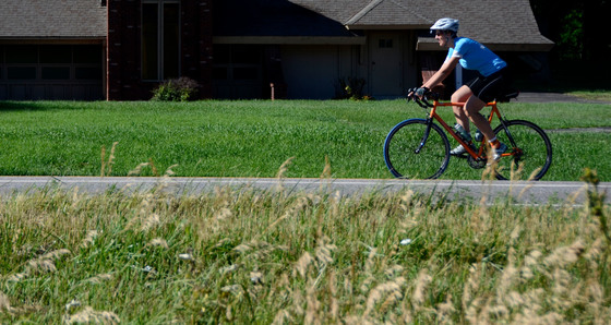 Cyclist on a county road