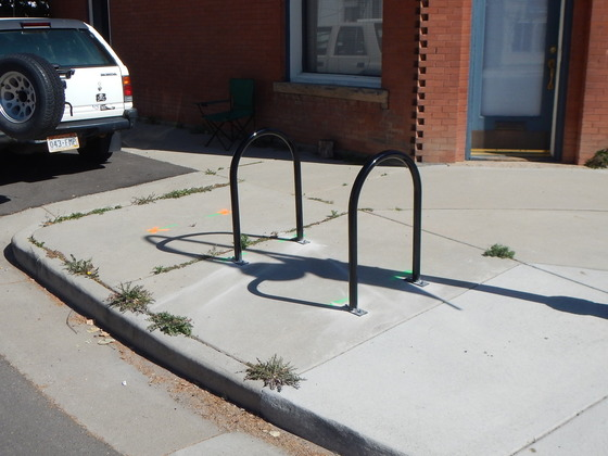 Bike racks in front of a local business
