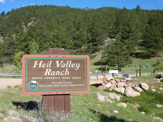 Entry sign at Heil Valley Ranch trailhead