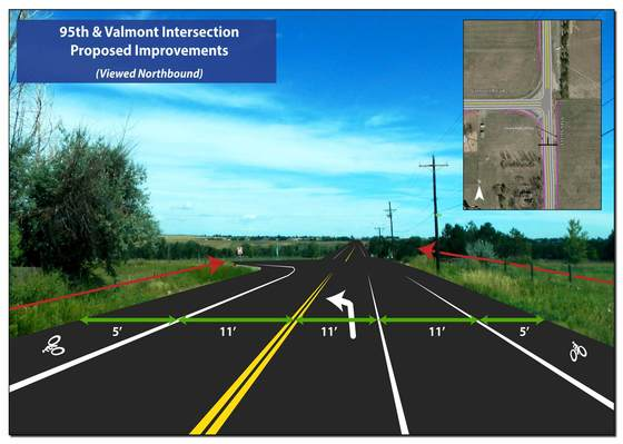 Project plan for intersection at 95th and Valmont Road