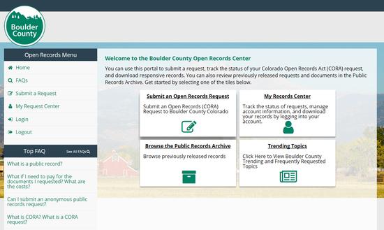 Screenshot of CORA Web Portal Page