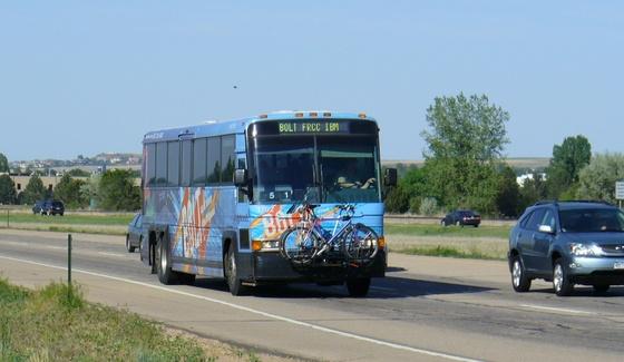 Bolt bus driving along Diagonal Highway near Gunbarrel