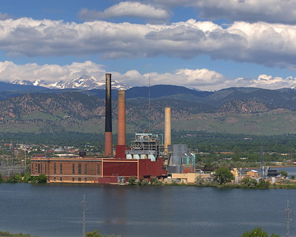 Long distance view of Valmont Power Station outside of Boulder, Colo.