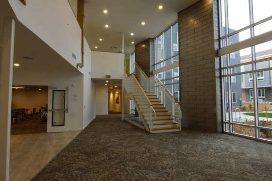 An Interior view of one of the community spaces in the Kestrel development.