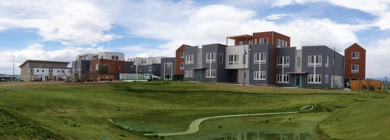 An exterior view of the Kestrel community and greenspace