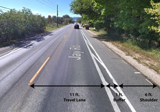 Photo showing example of mid-line markings on Jay Rd.