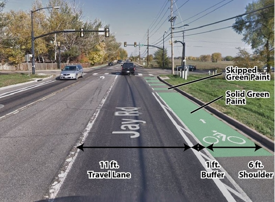 Photo showing example of green treatments to bike lane on Jay Rd.