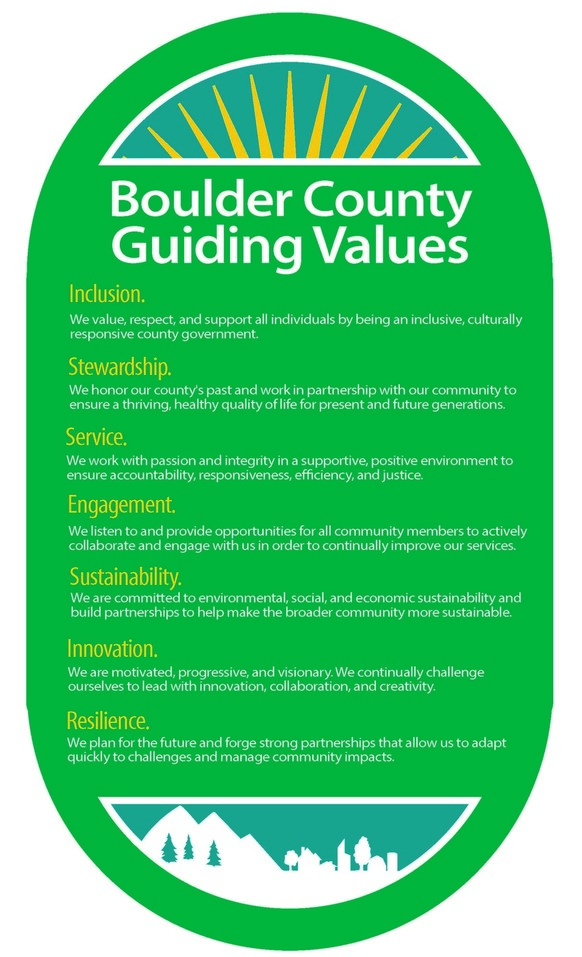 Boulder County's list of seven Guiding Values