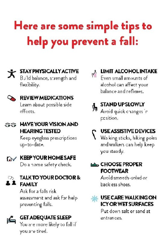 list of tips on how to avoid falls