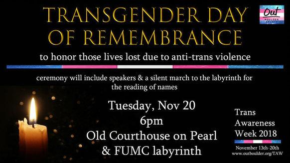 Invitation to Nov. 20 6 p.m. Transgender Day of Remembrance vigil