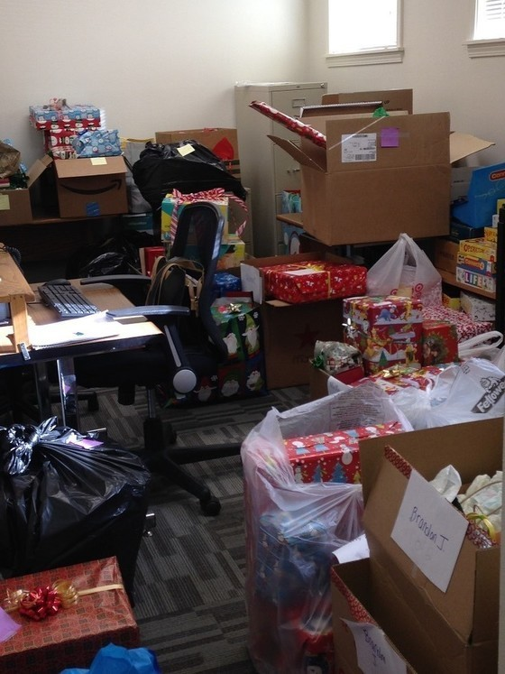 Wrapped presents and gifts donated by generous families and individuals
