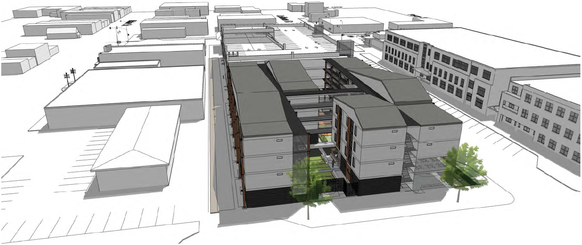Three dimensional rendering of design options for the Coffman Street redevelopment