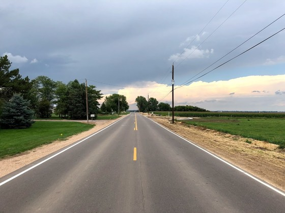 View of centerline pavement along County Line Road
