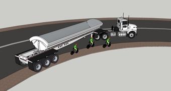 Truck and bike traffic on curves