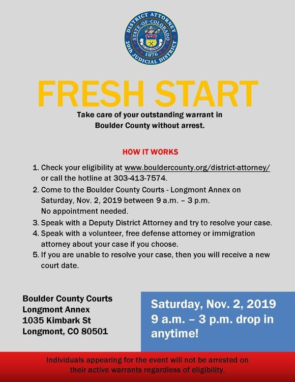 Flyer for Fresh Start event - English