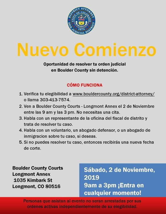 Flyer for Fresh Start event - Spanish