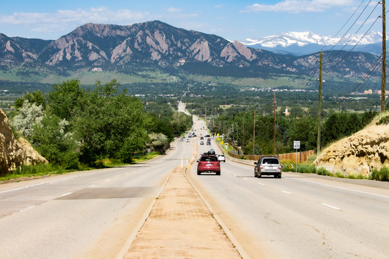 View of S. Boulder Road heading west into Boulder from east Boulder County