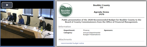 Screenshot of start of 2020 Recommended Budget presentation video recording