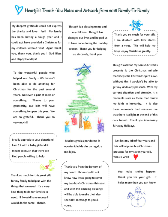 Collage of thank you notes from recipients of the 2018 family to family program