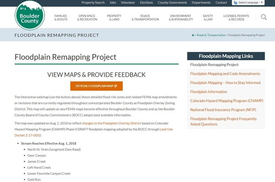 Image of Floodplain Remappping Website Homepage
