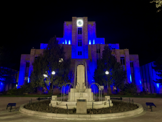 Downtown Boulder County Courthouse lit up in blue in support of healthcare workers #LightItBlue