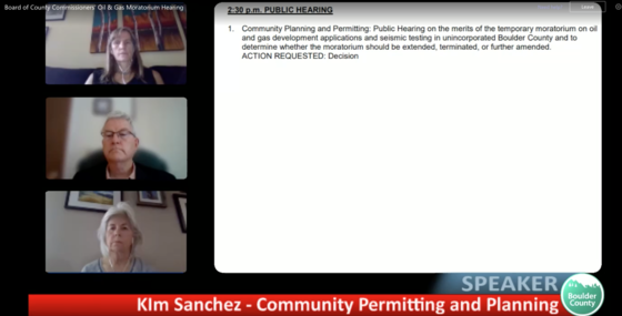 Screenshot from the live public hearing