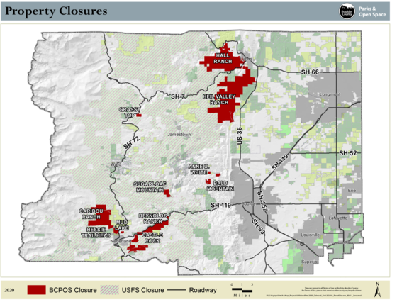 Boulder County map of closure areas