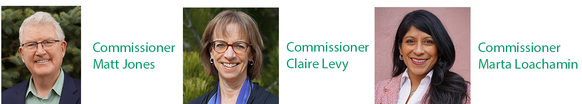 Headshots of three current commissioners in horizontal alignment with their names to the right of each photo