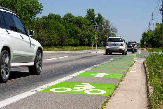 Cars and Jay Road bike lane
